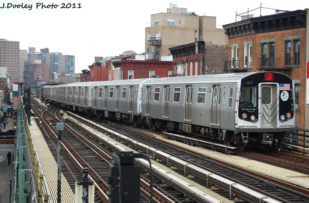 (384k, 1024x675)<br><b>Country:</b> United States<br><b>City:</b> New York<br><b>System:</b> New York City Transit<br><b>Line:</b> BMT Nassau Street/Jamaica Line<br><b>Location:</b> Marcy Avenue <br><b>Route:</b> J<br><b>Car:</b> R-160A-1 (Alstom, 2005-2008, 4 car sets)  8357 <br><b>Photo by:</b> John Dooley<br><b>Date:</b> 9/20/2011<br><b>Viewed (this week/total):</b> 0 / 530
