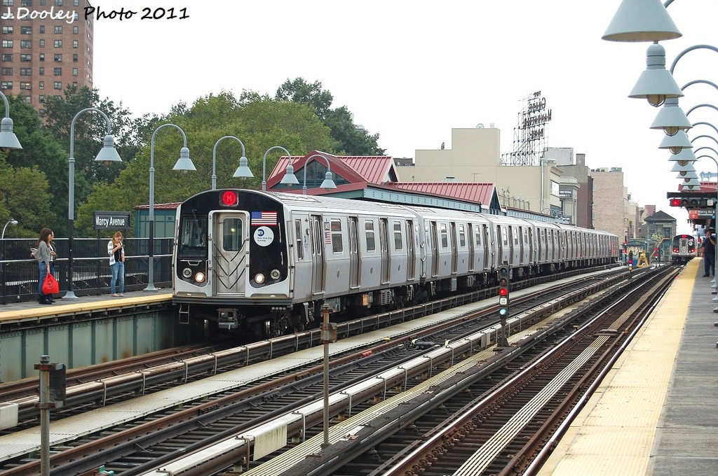 (380k, 1024x680)<br><b>Country:</b> United States<br><b>City:</b> New York<br><b>System:</b> New York City Transit<br><b>Line:</b> BMT Nassau Street/Jamaica Line<br><b>Location:</b> Marcy Avenue <br><b>Route:</b> M<br><b>Car:</b> R-160A-1 (Alstom, 2005-2008, 4 car sets)  8404 <br><b>Photo by:</b> John Dooley<br><b>Date:</b> 9/20/2011<br><b>Viewed (this week/total):</b> 1 / 312