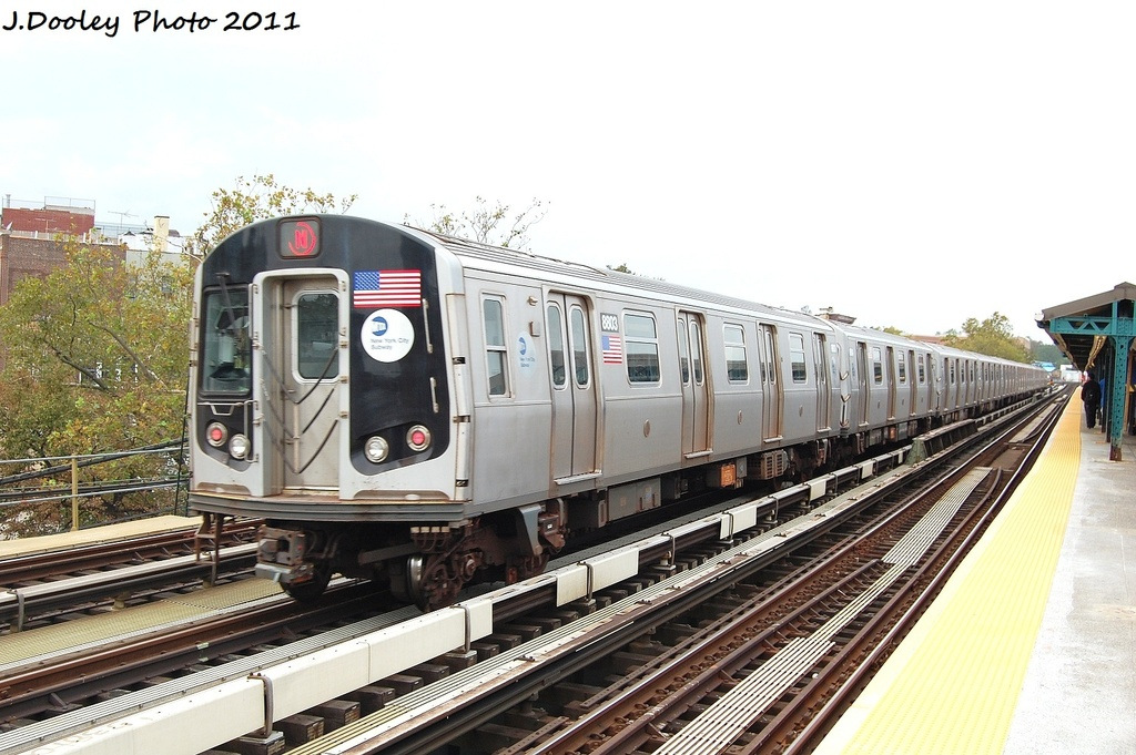 (316k, 1024x681)<br><b>Country:</b> United States<br><b>City:</b> New York<br><b>System:</b> New York City Transit<br><b>Line:</b> BMT West End Line<br><b>Location:</b> Fort Hamilton Parkway <br><b>Route:</b> N reroute<br><b>Car:</b> R-160B (Kawasaki, 2005-2008)  8803 <br><b>Photo by:</b> John Dooley<br><b>Date:</b> 9/22/2011<br><b>Viewed (this week/total):</b> 3 / 202