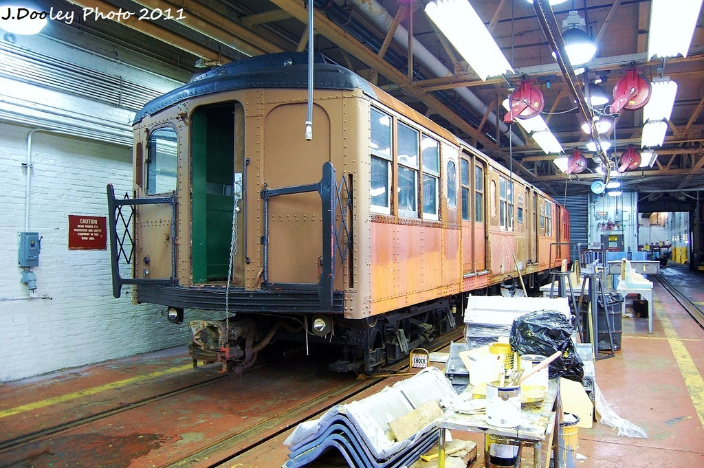 (426k, 1024x681)<br><b>Country:</b> United States<br><b>City:</b> New York<br><b>System:</b> New York City Transit<br><b>Location:</b> Coney Island Shop-Paint Shop<br><b>Car:</b> BMT A/B-Type Standard 239x <br><b>Photo by:</b> John Dooley<br><b>Date:</b> 8/26/2011<br><b>Notes:</b> BMT standard museum car in paint shop<br><b>Viewed (this week/total):</b> 0 / 510