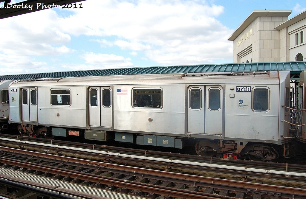 (325k, 1024x668)<br><b>Country:</b> United States<br><b>City:</b> New York<br><b>System:</b> New York City Transit<br><b>Line:</b> IRT Woodlawn Line<br><b>Location:</b> 161st Street/River Avenue (Yankee Stadium) <br><b>Route:</b> 4<br><b>Car:</b> R-142A (Option Order, Kawasaki, 2002-2003)  7688 <br><b>Photo by:</b> John Dooley<br><b>Date:</b> 10/23/2011<br><b>Viewed (this week/total):</b> 0 / 577