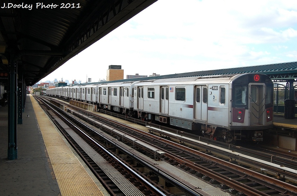 (337k, 1024x677)<br><b>Country:</b> United States<br><b>City:</b> New York<br><b>System:</b> New York City Transit<br><b>Line:</b> IRT Woodlawn Line<br><b>Location:</b> 161st Street/River Avenue (Yankee Stadium) <br><b>Route:</b> 4<br><b>Car:</b> R-142A (Option Order, Kawasaki, 2002-2003)  7690 <br><b>Photo by:</b> John Dooley<br><b>Date:</b> 10/23/2011<br><b>Viewed (this week/total):</b> 2 / 533