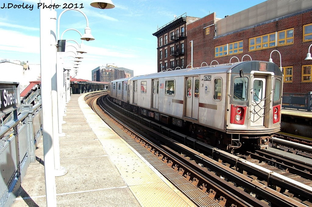 (423k, 1024x680)<br><b>Country:</b> United States<br><b>City:</b> New York<br><b>System:</b> New York City Transit<br><b>Line:</b> IRT White Plains Road Line<br><b>Location:</b> 174th Street <br><b>Route:</b> 2<br><b>Car:</b> R-142 (Primary Order, Bombardier, 1999-2002)  6765 <br><b>Photo by:</b> John Dooley<br><b>Date:</b> 10/28/2011<br><b>Viewed (this week/total):</b> 0 / 612