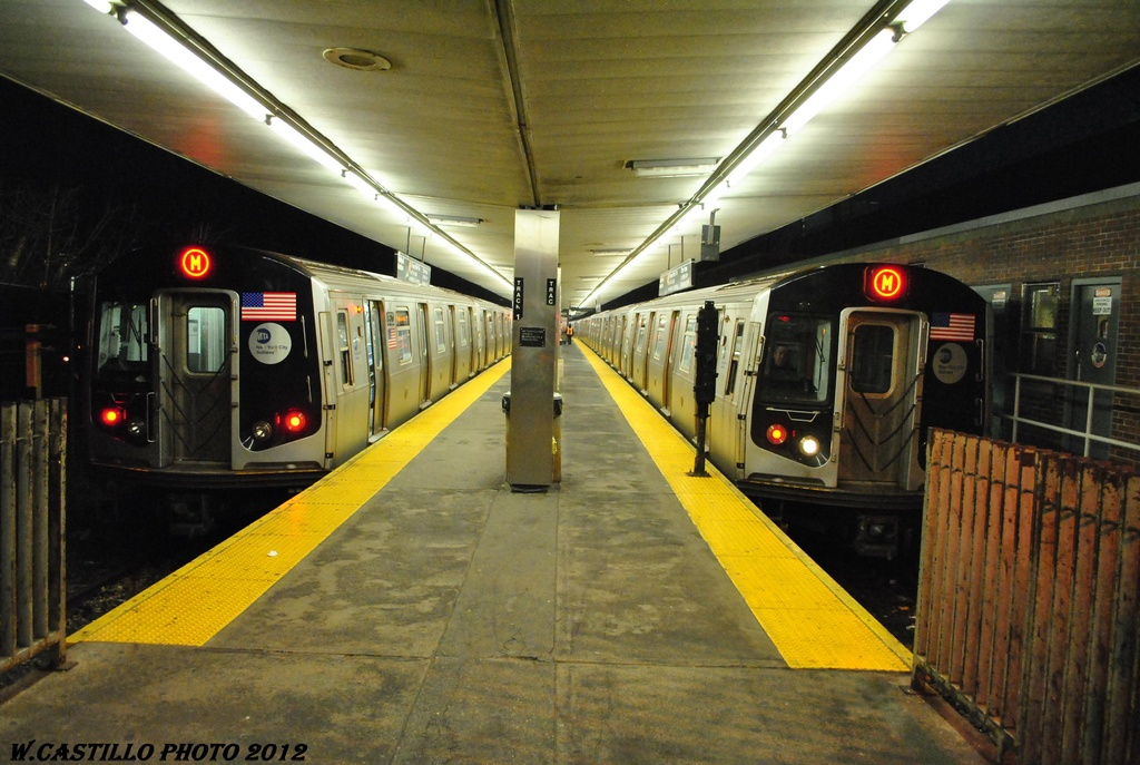 (306k, 1024x687)<br><b>Country:</b> United States<br><b>City:</b> New York<br><b>System:</b> New York City Transit<br><b>Line:</b> BMT Myrtle Avenue Line<br><b>Location:</b> Metropolitan Avenue <br><b>Route:</b> M<br><b>Car:</b> R-160A-1 (Alstom, 2005-2008, 4 car sets)   <br><b>Photo by:</b> Wilfredo Castillo<br><b>Date:</b> 3/16/2012<br><b>Viewed (this week/total):</b> 5 / 811
