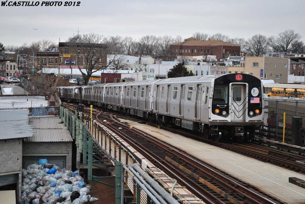(356k, 1024x687)<br><b>Country:</b> United States<br><b>City:</b> New York<br><b>System:</b> New York City Transit<br><b>Line:</b> BMT Canarsie Line<br><b>Location:</b> Broadway Junction <br><b>Route:</b> L<br><b>Car:</b> R-143 (Kawasaki, 2001-2002) 8157 <br><b>Photo by:</b> Wilfredo Castillo<br><b>Date:</b> 3/15/2012<br><b>Viewed (this week/total):</b> 0 / 337