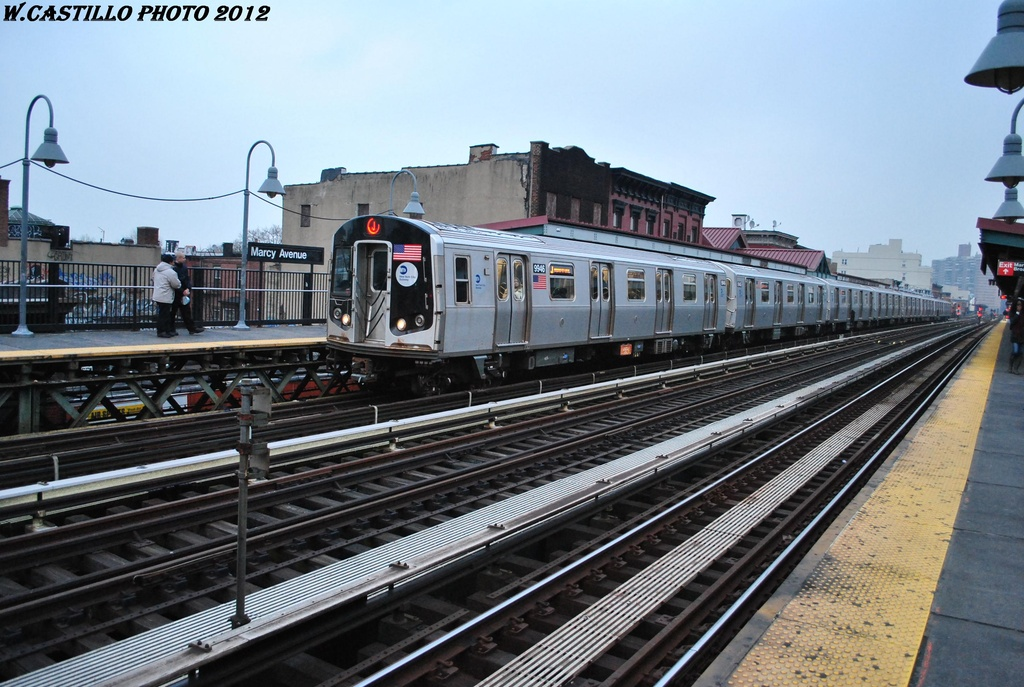 (325k, 1024x687)<br><b>Country:</b> United States<br><b>City:</b> New York<br><b>System:</b> New York City Transit<br><b>Line:</b> BMT Nassau Street/Jamaica Line<br><b>Location:</b> Marcy Avenue <br><b>Route:</b> J<br><b>Car:</b> R-160A (Option 2) (Alstom, 2009, 4-car sets)  9946 <br><b>Photo by:</b> Wilfredo Castillo<br><b>Date:</b> 3/16/2012<br><b>Viewed (this week/total):</b> 1 / 213