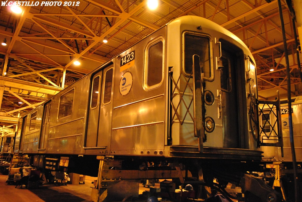 (346k, 1024x687)<br><b>Country:</b> United States<br><b>City:</b> New York<br><b>System:</b> New York City Transit<br><b>Location:</b> Coney Island Shop/Overhaul & Repair Shop<br><b>Car:</b> R-62 (Kawasaki, 1983-1985)  1423 <br><b>Photo by:</b> Wilfredo Castillo<br><b>Date:</b> 2/26/2012<br><b>Viewed (this week/total):</b> 1 / 196