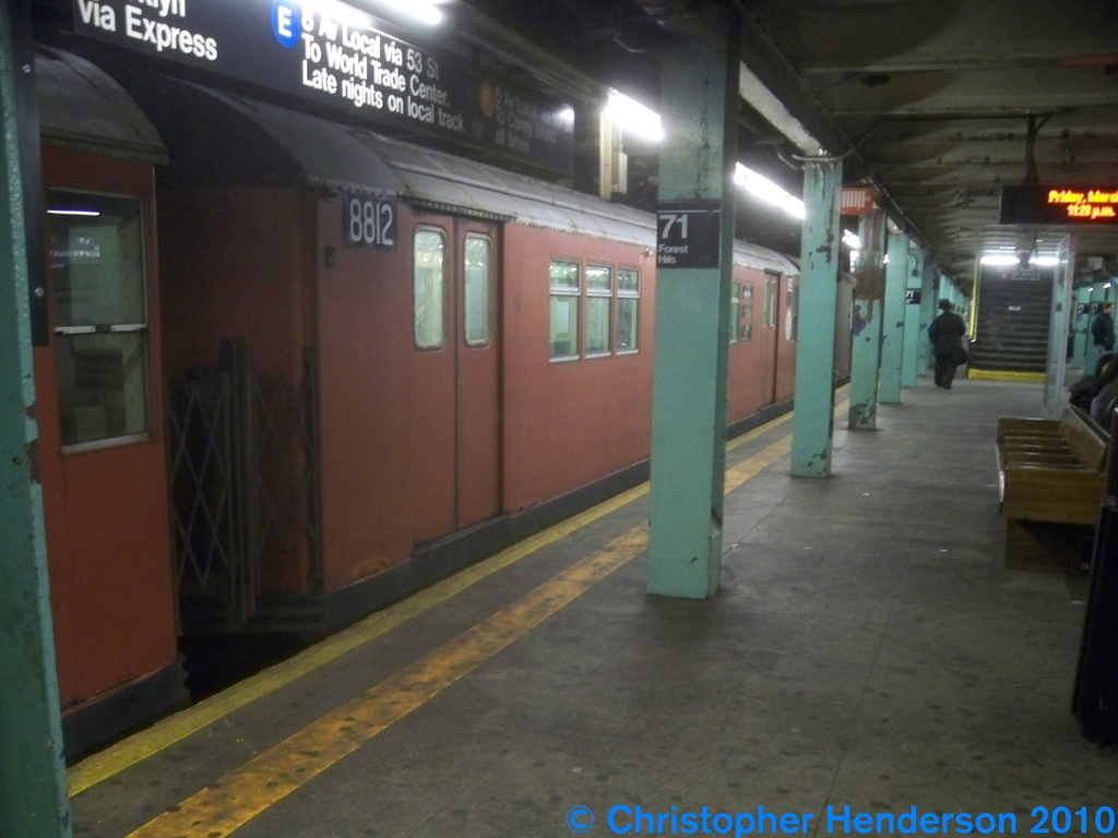 (199k, 1024x768)<br><b>Country:</b> United States<br><b>City:</b> New York<br><b>System:</b> New York City Transit<br><b>Line:</b> IND Queens Boulevard Line<br><b>Location:</b> 71st/Continental Aves./Forest Hills <br><b>Route:</b> Work Service<br><b>Car:</b> R-33 Main Line (St. Louis, 1962-63) 8812 <br><b>Photo by:</b> Christopher Henderson<br><b>Date:</b> 3/12/2010<br><b>Viewed (this week/total):</b> 1 / 348