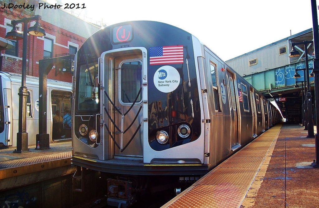 (371k, 1024x667)<br><b>Country:</b> United States<br><b>City:</b> New York<br><b>System:</b> New York City Transit<br><b>Line:</b> BMT Nassau Street/Jamaica Line<br><b>Location:</b> Myrtle Avenue <br><b>Route:</b> J<br><b>Car:</b> R-160A-1 (Alstom, 2005-2008, 4 car sets)  8413 <br><b>Photo by:</b> John Dooley<br><b>Date:</b> 8/17/2011<br><b>Viewed (this week/total):</b> 1 / 256
