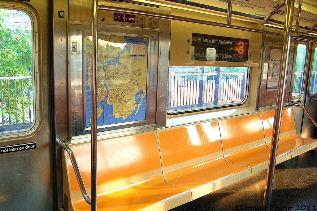 (414k, 1024x681)<br><b>Country:</b> United States<br><b>City:</b> New York<br><b>System:</b> New York City Transit<br><b>Car:</b> R-62 (Kawasaki, 1983-1985)  Interior <br><b>Photo by:</b> John Dooley<br><b>Date:</b> 6/28/2011<br><b>Viewed (this week/total):</b> 5 / 513