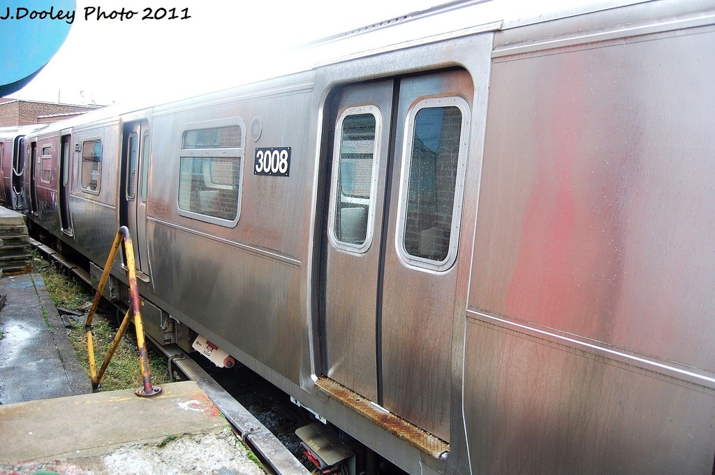 (343k, 1024x680)<br><b>Country:</b> United States<br><b>City:</b> New York<br><b>System:</b> New York City Transit<br><b>Location:</b> 207th Street Yard<br><b>Car:</b> R-110B (Bombardier, 1992) 3008 <br><b>Photo by:</b> John Dooley<br><b>Date:</b> 11/29/2011<br><b>Viewed (this week/total):</b> 0 / 287