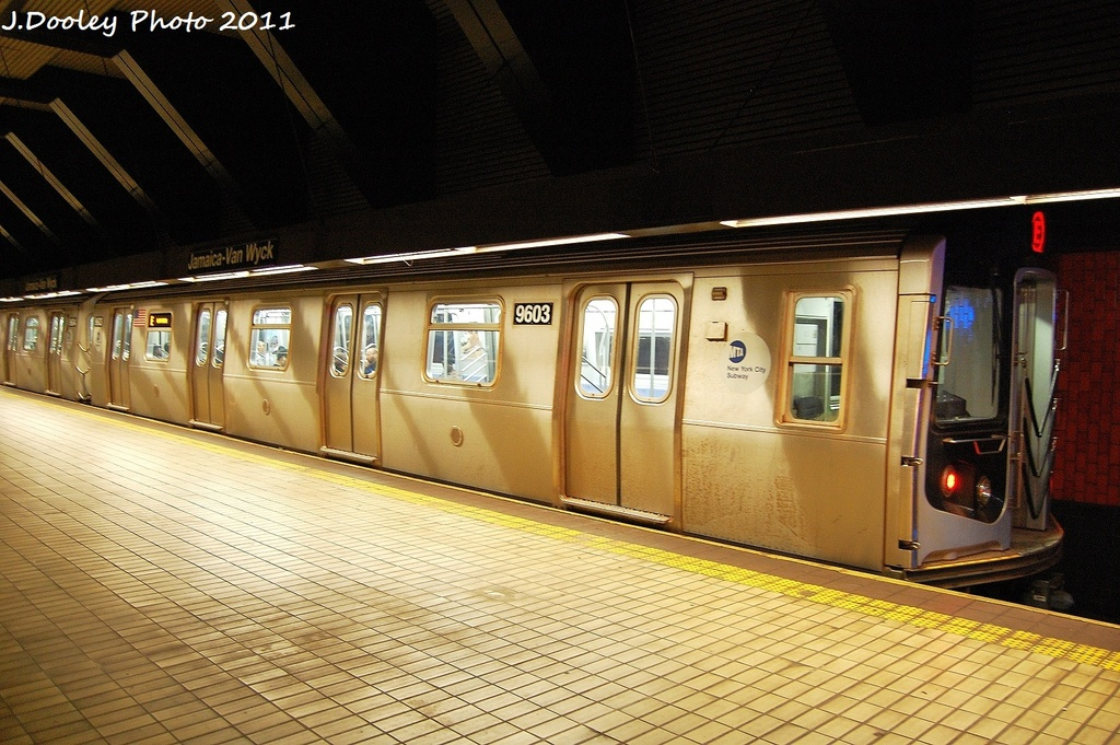 (357k, 1024x681)<br><b>Country:</b> United States<br><b>City:</b> New York<br><b>System:</b> New York City Transit<br><b>Line:</b> IND Queens Boulevard Line<br><b>Location:</b> Jamaica/Van Wyck <br><b>Route:</b> E<br><b>Car:</b> R-160A (Option 2) (Alstom, 2009, 5-car sets)  9603 <br><b>Photo by:</b> John Dooley<br><b>Date:</b> 9/6/2011<br><b>Viewed (this week/total):</b> 0 / 254