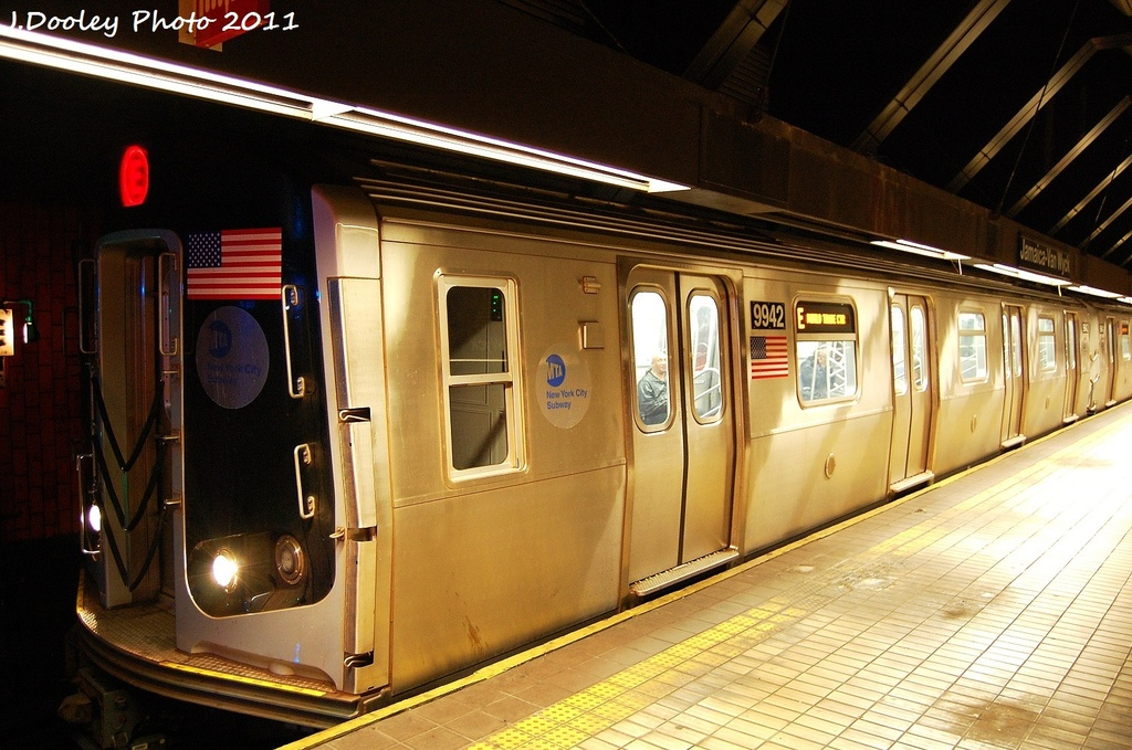 (336k, 1024x679)<br><b>Country:</b> United States<br><b>City:</b> New York<br><b>System:</b> New York City Transit<br><b>Line:</b> IND Queens Boulevard Line<br><b>Location:</b> Jamaica/Van Wyck <br><b>Route:</b> E<br><b>Car:</b> R-160B (Option 2) (Kawasaki, 2009)  9942 <br><b>Photo by:</b> John Dooley<br><b>Date:</b> 9/6/2011<br><b>Viewed (this week/total):</b> 1 / 645