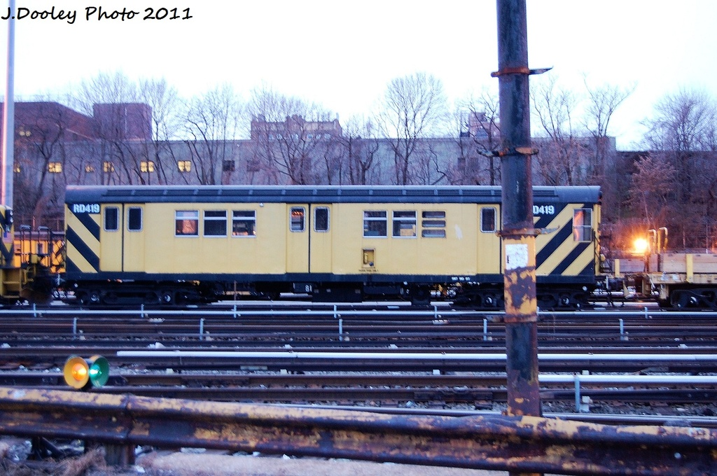 (347k, 1024x680)<br><b>Country:</b> United States<br><b>City:</b> New York<br><b>System:</b> New York City Transit<br><b>Location:</b> 36th Street Yard<br><b>Car:</b> R-161 Rider Car (ex-R-33)  RD419 <br><b>Photo by:</b> John Dooley<br><b>Date:</b> 12/29/2011<br><b>Viewed (this week/total):</b> 1 / 295