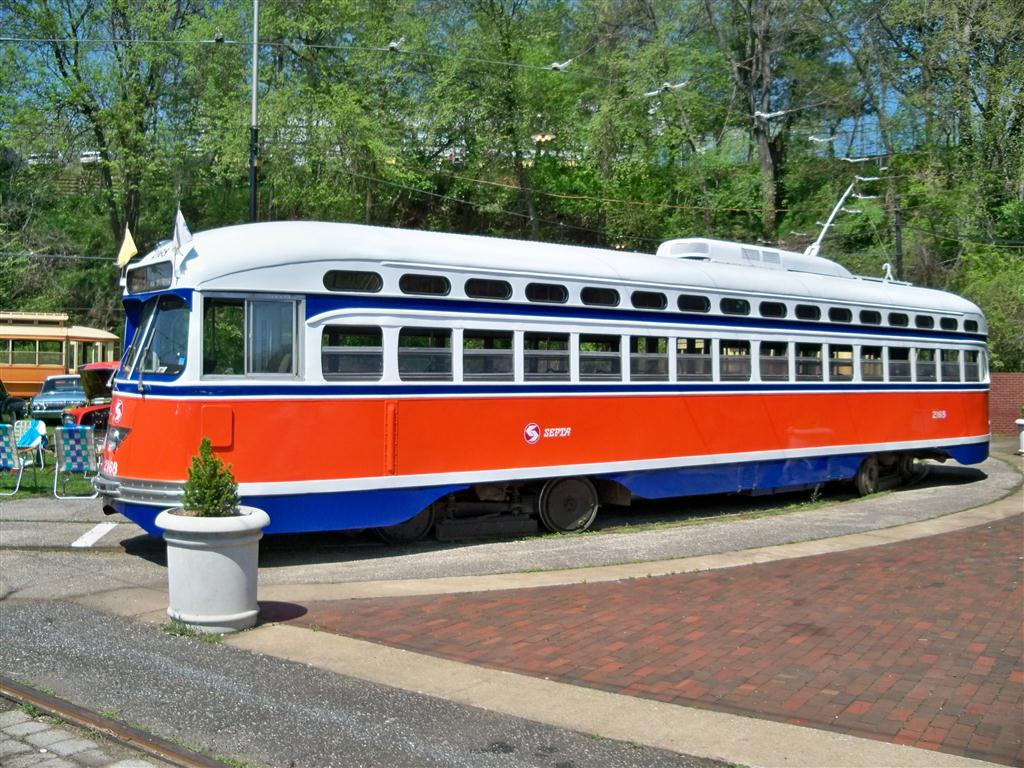 (184k, 1024x768)<br><b>Country:</b> United States<br><b>City:</b> Baltimore, MD<br><b>System:</b> Baltimore Streetcar Museum <br><b>Car:</b> PTC/SEPTA Postwar All-electric PCC (St.Louis, 1948)  2168 <br><b>Photo by:</b> Fran Rogers<br><b>Date:</b> 4/11/2010<br><b>Viewed (this week/total):</b> 0 / 381