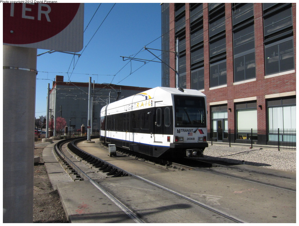 (339k, 1044x788)<br><b>Country:</b> United States<br><b>City:</b> Jersey City, NJ<br><b>System:</b> Hudson Bergen Light Rail<br><b>Location:</b> Washington St. Grade Crossing <br><b>Car:</b> NJT-HBLR LRV (Kinki-Sharyo, 1998-99)  2036 <br><b>Photo by:</b> David Pirmann<br><b>Date:</b> 3/11/2012<br><b>Viewed (this week/total):</b> 0 / 92