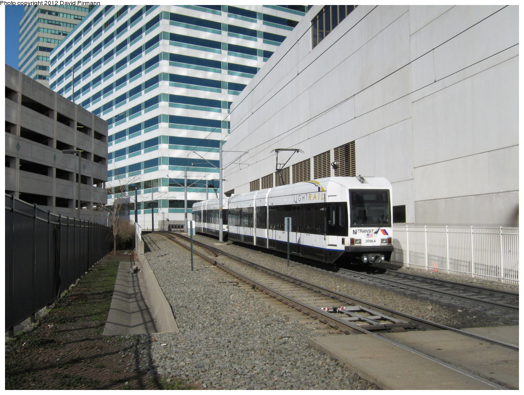 (370k, 1044x788)<br><b>Country:</b> United States<br><b>City:</b> Jersey City, NJ<br><b>System:</b> Hudson Bergen Light Rail<br><b>Location:</b> 6th St. Grade Crossing <br><b>Car:</b> NJT-HBLR LRV (Kinki-Sharyo, 1998-99)  2036 <br><b>Photo by:</b> David Pirmann<br><b>Date:</b> 3/14/2012<br><b>Viewed (this week/total):</b> 1 / 263