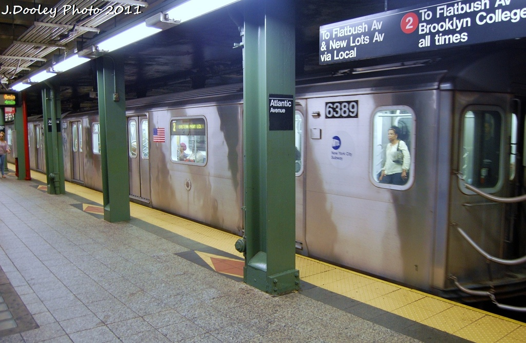 (301k, 1024x667)<br><b>Country:</b> United States<br><b>City:</b> New York<br><b>System:</b> New York City Transit<br><b>Line:</b> IRT Brooklyn Line<br><b>Location:</b> Atlantic Avenue <br><b>Route:</b> 2<br><b>Car:</b> R-142 (Primary Order, Bombardier, 1999-2002)  6389 <br><b>Photo by:</b> John Dooley<br><b>Date:</b> 9/3/2011<br><b>Viewed (this week/total):</b> 4 / 1079