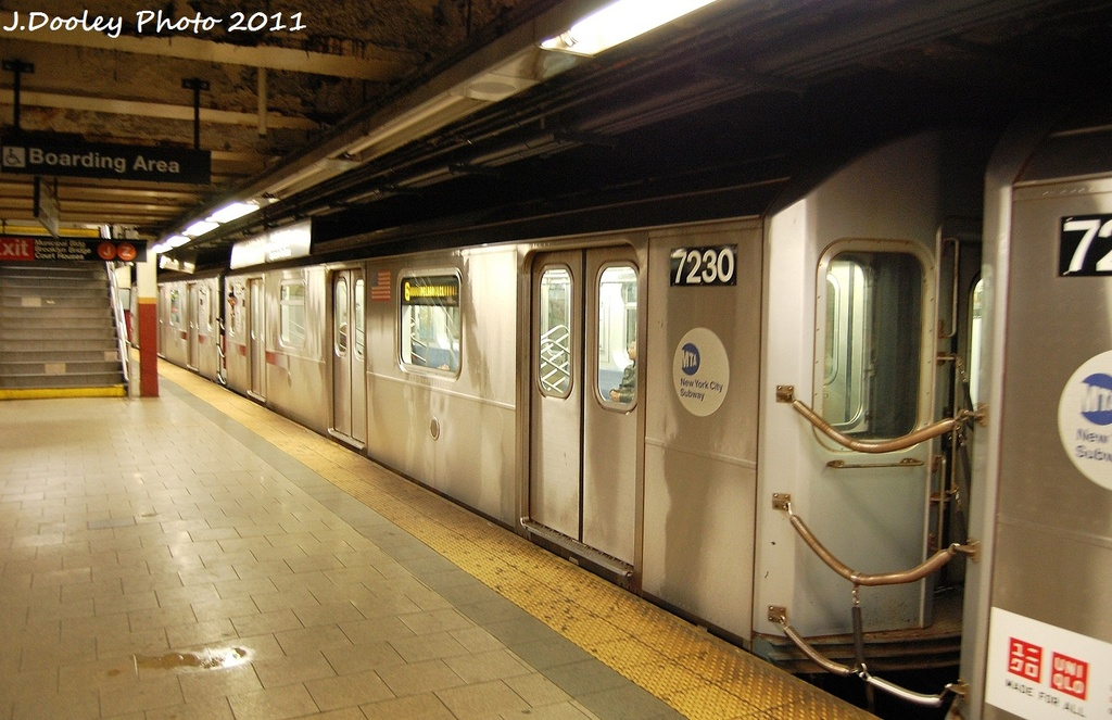 (313k, 1024x663)<br><b>Country:</b> United States<br><b>City:</b> New York<br><b>System:</b> New York City Transit<br><b>Line:</b> IRT East Side Line<br><b>Location:</b> Brooklyn Bridge/City Hall <br><b>Route:</b> 6<br><b>Car:</b> R-142A (Primary Order, Kawasaki, 1999-2002)  7230 <br><b>Photo by:</b> John Dooley<br><b>Date:</b> 10/28/2011<br><b>Viewed (this week/total):</b> 4 / 335