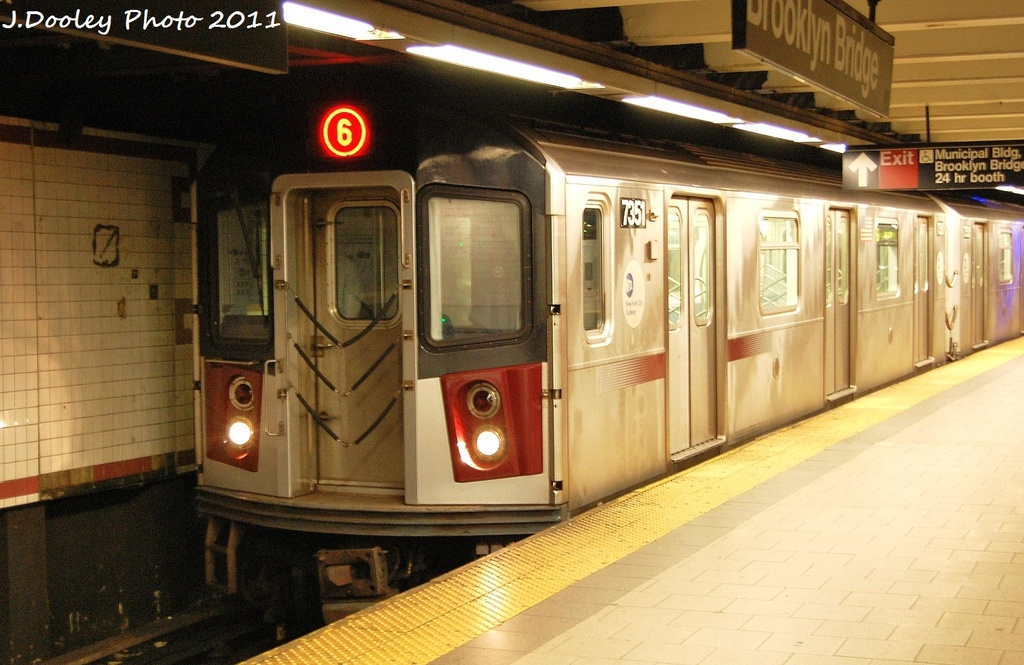 (327k, 1024x665)<br><b>Country:</b> United States<br><b>City:</b> New York<br><b>System:</b> New York City Transit<br><b>Line:</b> IRT East Side Line<br><b>Location:</b> Brooklyn Bridge/City Hall <br><b>Route:</b> 6<br><b>Car:</b> R-142A (Primary Order, Kawasaki, 1999-2002)  7351 <br><b>Photo by:</b> John Dooley<br><b>Date:</b> 10/28/2011<br><b>Viewed (this week/total):</b> 1 / 311