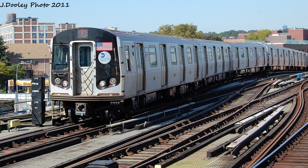 (361k, 1024x560)<br><b>Country:</b> United States<br><b>City:</b> New York<br><b>System:</b> New York City Transit<br><b>Line:</b> BMT Culver Line<br><b>Location:</b> Ditmas Avenue <br><b>Route:</b> F<br><b>Car:</b> R-160A (Option 2) (Alstom, 2009, 5-car sets)  9603 <br><b>Photo by:</b> John Dooley<br><b>Date:</b> 10/9/2011<br><b>Viewed (this week/total):</b> 3 / 418