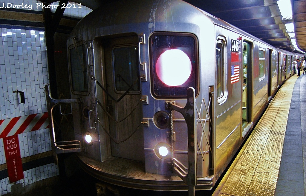 (342k, 1024x658)<br><b>Country:</b> United States<br><b>City:</b> New York<br><b>System:</b> New York City Transit<br><b>Line:</b> IRT West Side Line<br><b>Location:</b> 72nd Street <br><b>Route:</b> 1<br><b>Car:</b> R-62 (Kawasaki, 1983-1985)  2446 <br><b>Photo by:</b> John Dooley<br><b>Date:</b> 9/3/2011<br><b>Viewed (this week/total):</b> 1 / 185