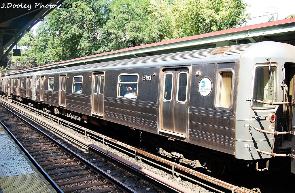 (479k, 1024x671)<br><b>Country:</b> United States<br><b>City:</b> New York<br><b>System:</b> New York City Transit<br><b>Line:</b> BMT Brighton Line<br><b>Location:</b> Prospect Park <br><b>Route:</b> B<br><b>Car:</b> R-68A (Kawasaki, 1988-1989)  5183 <br><b>Photo by:</b> John Dooley<br><b>Date:</b> 9/12/2011<br><b>Viewed (this week/total):</b> 0 / 784