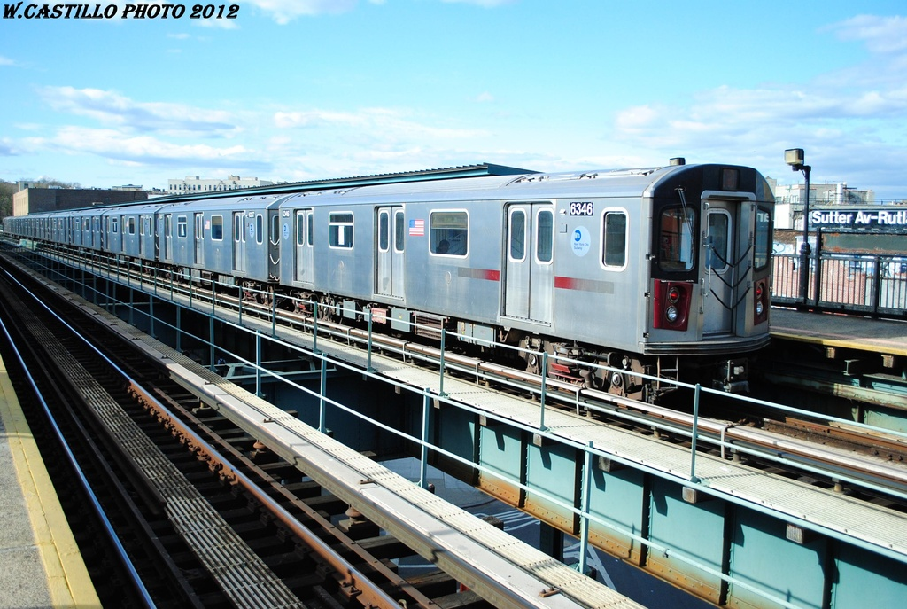 (335k, 1024x687)<br><b>Country:</b> United States<br><b>City:</b> New York<br><b>System:</b> New York City Transit<br><b>Line:</b> IRT Brooklyn Line<br><b>Location:</b> Sutter Avenue/Rutland Road <br><b>Route:</b> 2<br><b>Car:</b> R-142 (Primary Order, Bombardier, 1999-2002)  6346 <br><b>Photo by:</b> Wilfredo Castillo<br><b>Date:</b> 3/29/2012<br><b>Viewed (this week/total):</b> 1 / 262