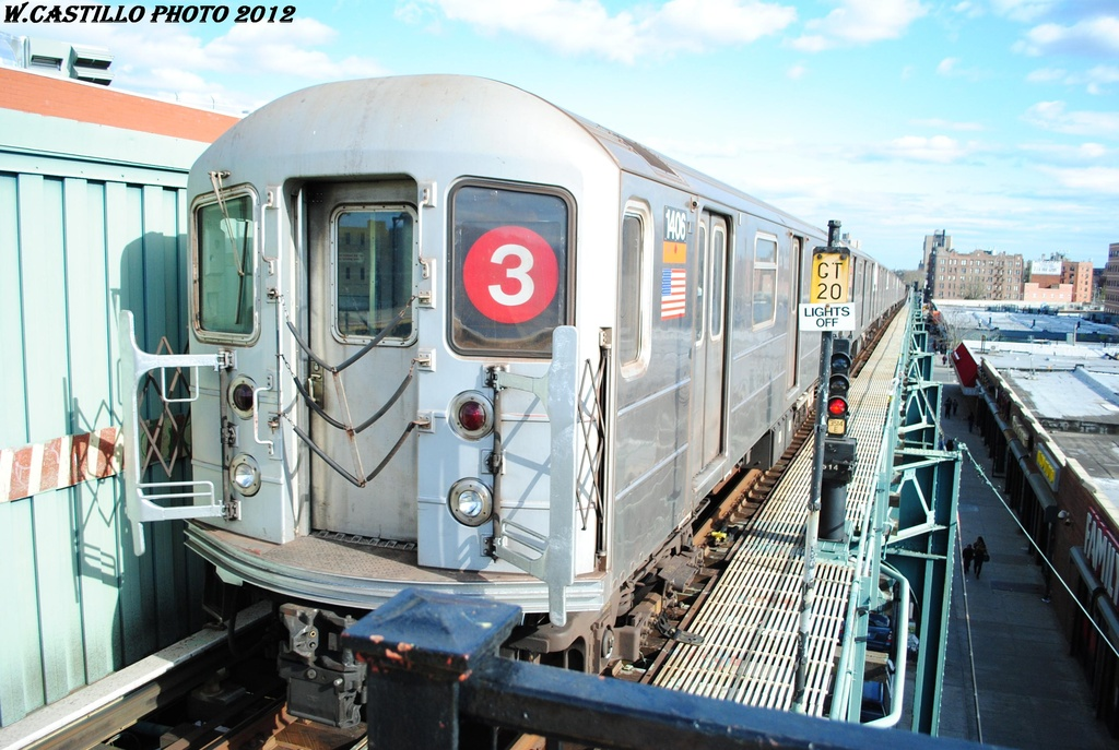 (318k, 1024x687)<br><b>Country:</b> United States<br><b>City:</b> New York<br><b>System:</b> New York City Transit<br><b>Line:</b> IRT Brooklyn Line<br><b>Location:</b> Saratoga Avenue <br><b>Route:</b> 3<br><b>Car:</b> R-62 (Kawasaki, 1983-1985)  1406 <br><b>Photo by:</b> Wilfredo Castillo<br><b>Date:</b> 3/29/2012<br><b>Viewed (this week/total):</b> 2 / 801