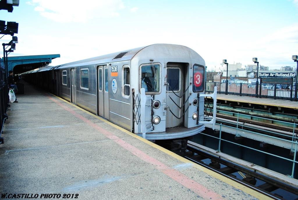 (316k, 1024x687)<br><b>Country:</b> United States<br><b>City:</b> New York<br><b>System:</b> New York City Transit<br><b>Line:</b> IRT Brooklyn Line<br><b>Location:</b> Sutter Avenue/Rutland Road <br><b>Route:</b> 3<br><b>Car:</b> R-62 (Kawasaki, 1983-1985)  1546 <br><b>Photo by:</b> Wilfredo Castillo<br><b>Date:</b> 3/29/2012<br><b>Viewed (this week/total):</b> 3 / 268