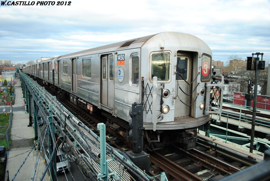 (325k, 1024x687)<br><b>Country:</b> United States<br><b>City:</b> New York<br><b>System:</b> New York City Transit<br><b>Line:</b> IRT Brooklyn Line<br><b>Location:</b> Van Siclen Avenue <br><b>Route:</b> 3<br><b>Car:</b> R-62 (Kawasaki, 1983-1985)  1450 <br><b>Photo by:</b> Wilfredo Castillo<br><b>Date:</b> 3/29/2012<br><b>Viewed (this week/total):</b> 10 / 529