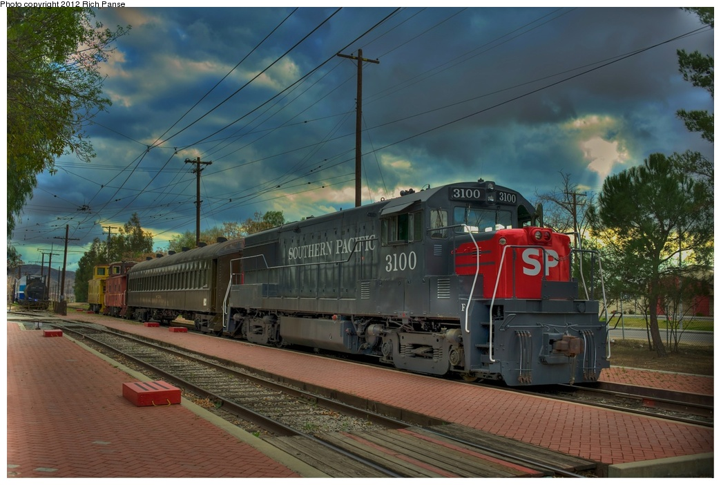 (272k, 1044x702)<br><b>Country:</b> United States<br><b>City:</b> Perris, CA<br><b>System:</b> Orange Empire Railway Museum <br><b>Car:</b>  3100 <br><b>Photo by:</b> Richard Panse<br><b>Date:</b> 2012<br><b>Viewed (this week/total):</b> 1 / 328