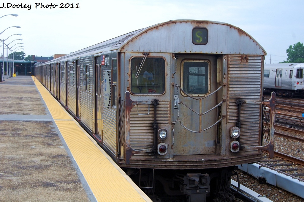 (330k, 1024x679)<br><b>Country:</b> United States<br><b>City:</b> New York<br><b>System:</b> New York City Transit<br><b>Line:</b> IND Rockaway<br><b>Location:</b> Rockaway Park/Beach 116th Street <br><b>Route:</b> S<br><b>Car:</b> R-32 (Budd, 1964)  3740 <br><b>Photo by:</b> John Dooley<br><b>Date:</b> 7/24/2011<br><b>Viewed (this week/total):</b> 4 / 652