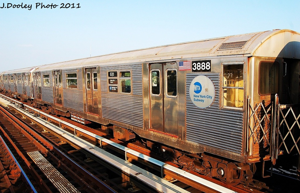 (403k, 1024x658)<br><b>Country:</b> United States<br><b>City:</b> New York<br><b>System:</b> New York City Transit<br><b>Line:</b> IND Fulton Street Line<br><b>Location:</b> 104th Street/Oxford Ave. <br><b>Route:</b> A<br><b>Car:</b> R-32 (Budd, 1964)  3888 <br><b>Photo by:</b> John Dooley<br><b>Date:</b> 8/20/2011<br><b>Viewed (this week/total):</b> 0 / 144