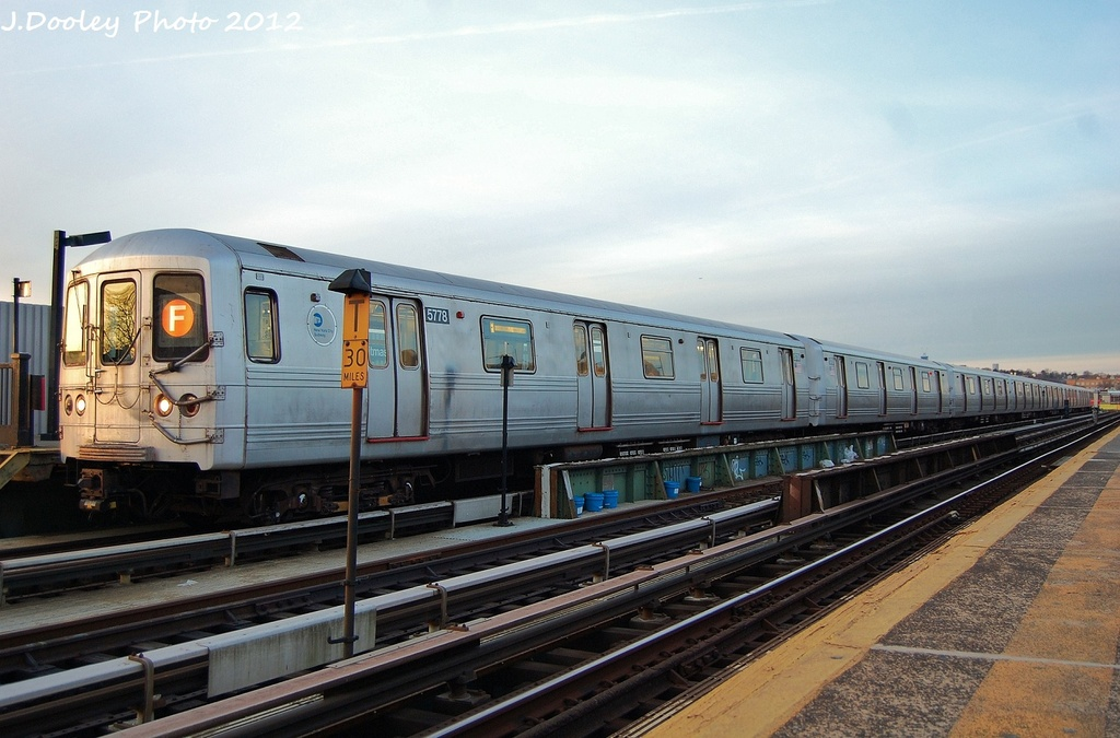 (294k, 1024x675)<br><b>Country:</b> United States<br><b>City:</b> New York<br><b>System:</b> New York City Transit<br><b>Line:</b> BMT Culver Line<br><b>Location:</b> Ditmas Avenue <br><b>Route:</b> F<br><b>Car:</b> R-46 (Pullman-Standard, 1974-75) 5778 <br><b>Photo by:</b> John Dooley<br><b>Date:</b> 1/20/2012<br><b>Viewed (this week/total):</b> 3 / 316