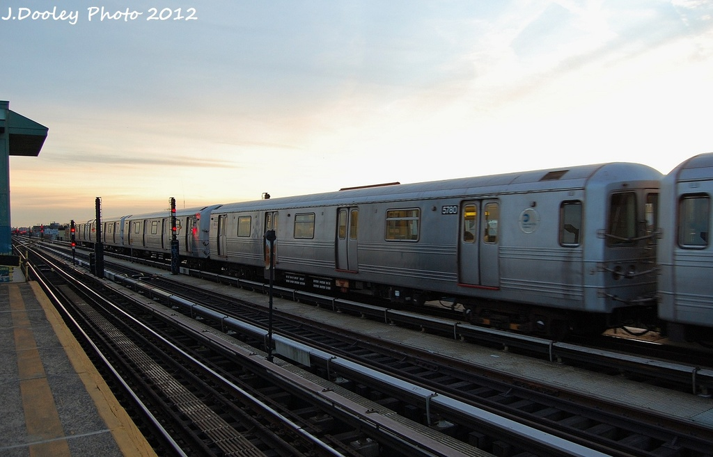(254k, 1024x657)<br><b>Country:</b> United States<br><b>City:</b> New York<br><b>System:</b> New York City Transit<br><b>Line:</b> BMT Culver Line<br><b>Location:</b> Ditmas Avenue <br><b>Route:</b> F<br><b>Car:</b> R-46 (Pullman-Standard, 1974-75) 5780 <br><b>Photo by:</b> John Dooley<br><b>Date:</b> 1/20/2012<br><b>Viewed (this week/total):</b> 0 / 224