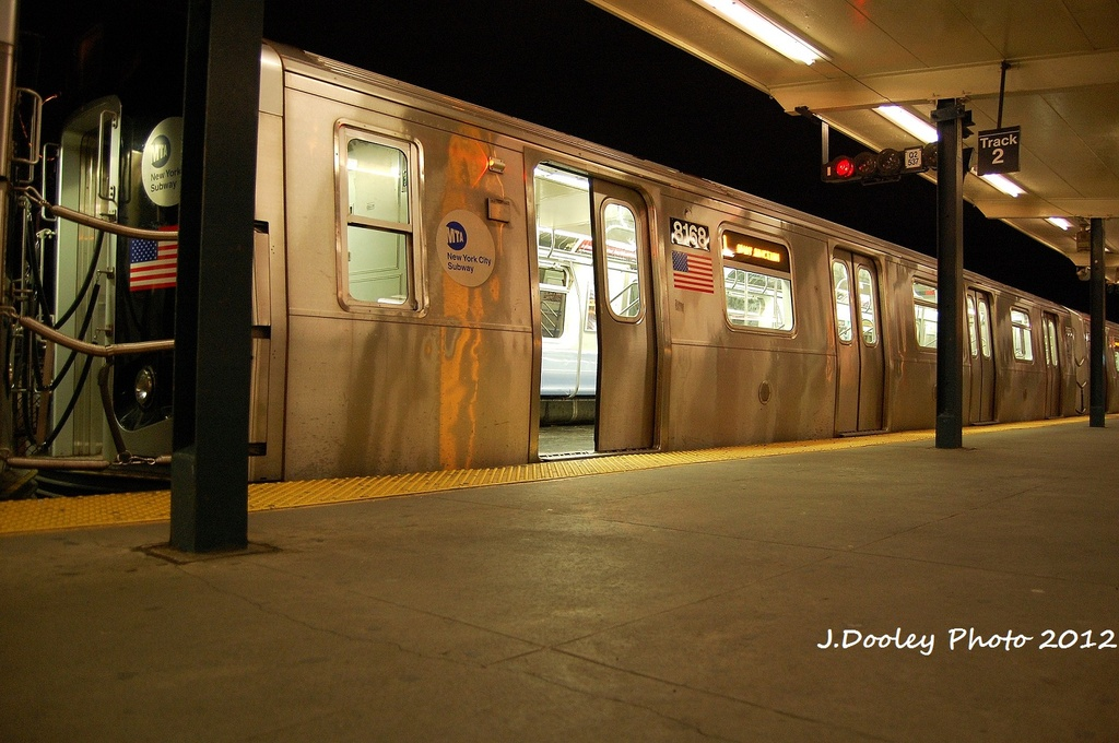 (314k, 1024x680)<br><b>Country:</b> United States<br><b>City:</b> New York<br><b>System:</b> New York City Transit<br><b>Line:</b> BMT Canarsie Line<br><b>Location:</b> Rockaway Parkway <br><b>Route:</b> L<br><b>Car:</b> R-143 (Kawasaki, 2001-2002) 8168 <br><b>Photo by:</b> John Dooley<br><b>Date:</b> 1/15/2012<br><b>Viewed (this week/total):</b> 0 / 237