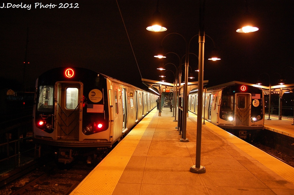 (308k, 1024x680)<br><b>Country:</b> United States<br><b>City:</b> New York<br><b>System:</b> New York City Transit<br><b>Line:</b> BMT Canarsie Line<br><b>Location:</b> Broadway Junction <br><b>Route:</b> L<br><b>Car:</b> R-143 (Kawasaki, 2001-2002) 8205 <br><b>Photo by:</b> John Dooley<br><b>Date:</b> 1/15/2012<br><b>Viewed (this week/total):</b> 13 / 502