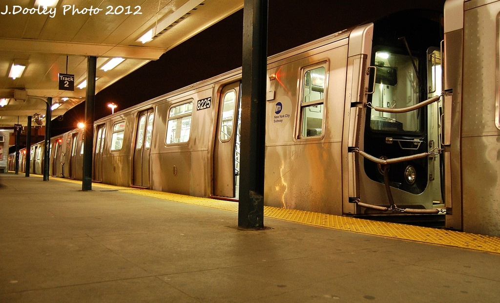 (310k, 1024x621)<br><b>Country:</b> United States<br><b>City:</b> New York<br><b>System:</b> New York City Transit<br><b>Line:</b> BMT Canarsie Line<br><b>Location:</b> Rockaway Parkway <br><b>Route:</b> L<br><b>Car:</b> R-143 (Kawasaki, 2001-2002) 8225 <br><b>Photo by:</b> John Dooley<br><b>Date:</b> 1/15/2012<br><b>Viewed (this week/total):</b> 4 / 216