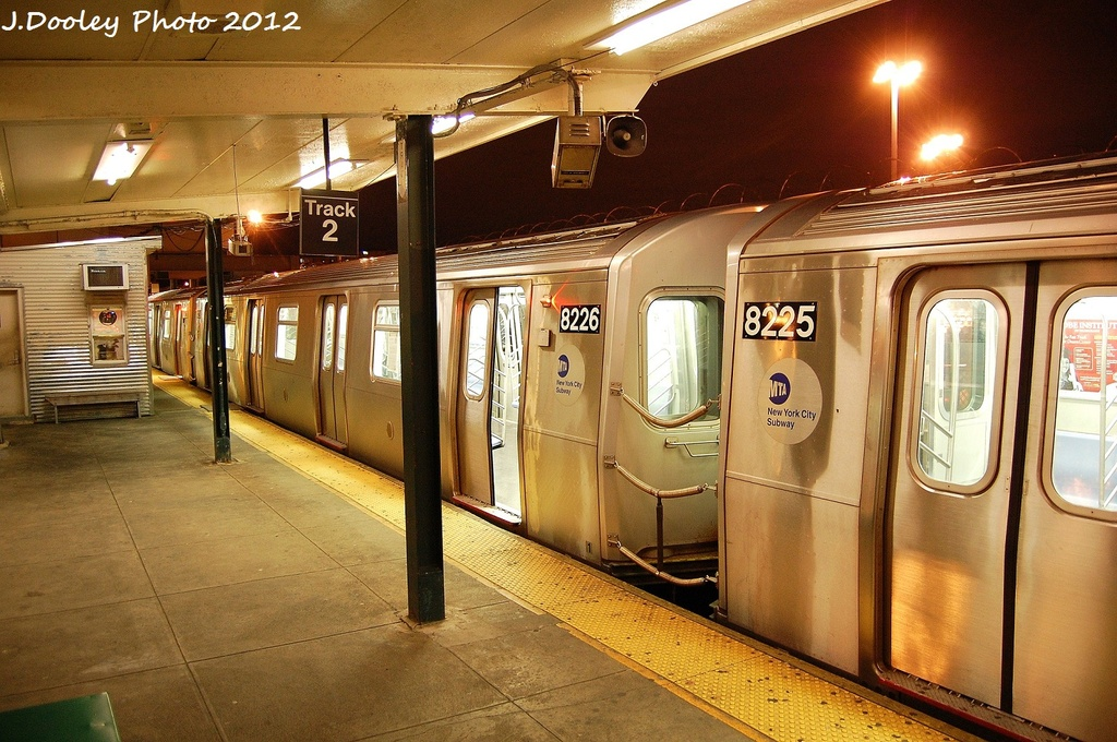(367k, 1024x680)<br><b>Country:</b> United States<br><b>City:</b> New York<br><b>System:</b> New York City Transit<br><b>Line:</b> BMT Canarsie Line<br><b>Location:</b> Rockaway Parkway <br><b>Route:</b> L<br><b>Car:</b> R-143 (Kawasaki, 2001-2002) 8226 <br><b>Photo by:</b> John Dooley<br><b>Date:</b> 1/15/2012<br><b>Viewed (this week/total):</b> 2 / 246