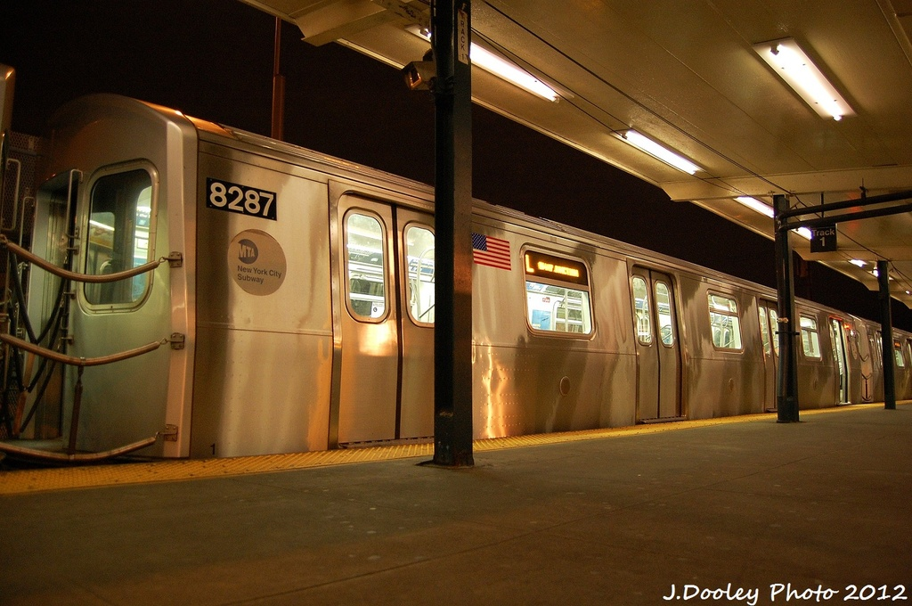 (314k, 1024x680)<br><b>Country:</b> United States<br><b>City:</b> New York<br><b>System:</b> New York City Transit<br><b>Line:</b> BMT Canarsie Line<br><b>Location:</b> Rockaway Parkway <br><b>Route:</b> L<br><b>Car:</b> R-143 (Kawasaki, 2001-2002) 8287 <br><b>Photo by:</b> John Dooley<br><b>Date:</b> 1/15/2012<br><b>Viewed (this week/total):</b> 4 / 186