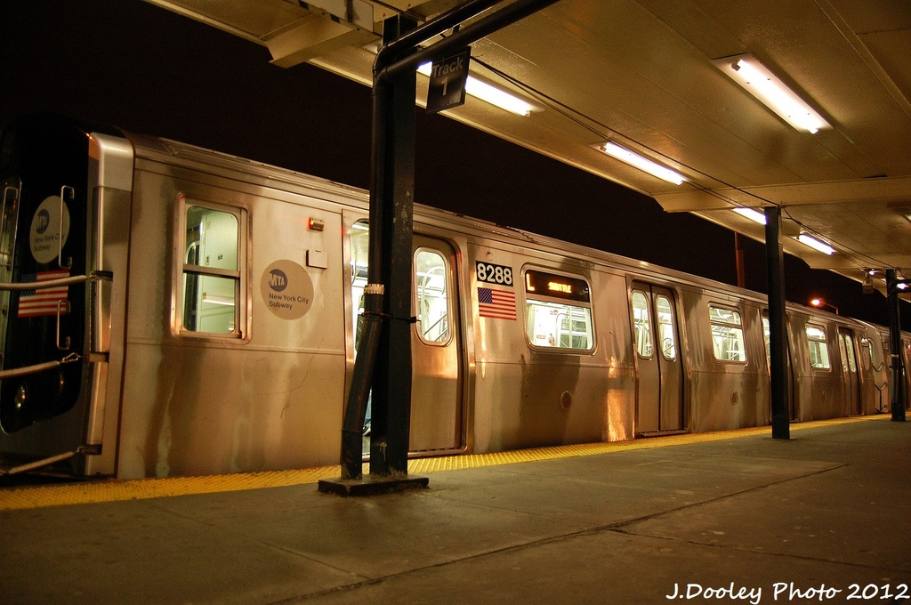 (314k, 1024x680)<br><b>Country:</b> United States<br><b>City:</b> New York<br><b>System:</b> New York City Transit<br><b>Line:</b> BMT Canarsie Line<br><b>Location:</b> Rockaway Parkway <br><b>Route:</b> L<br><b>Car:</b> R-143 (Kawasaki, 2001-2002) 8288 <br><b>Photo by:</b> John Dooley<br><b>Date:</b> 1/15/2012<br><b>Viewed (this week/total):</b> 0 / 222
