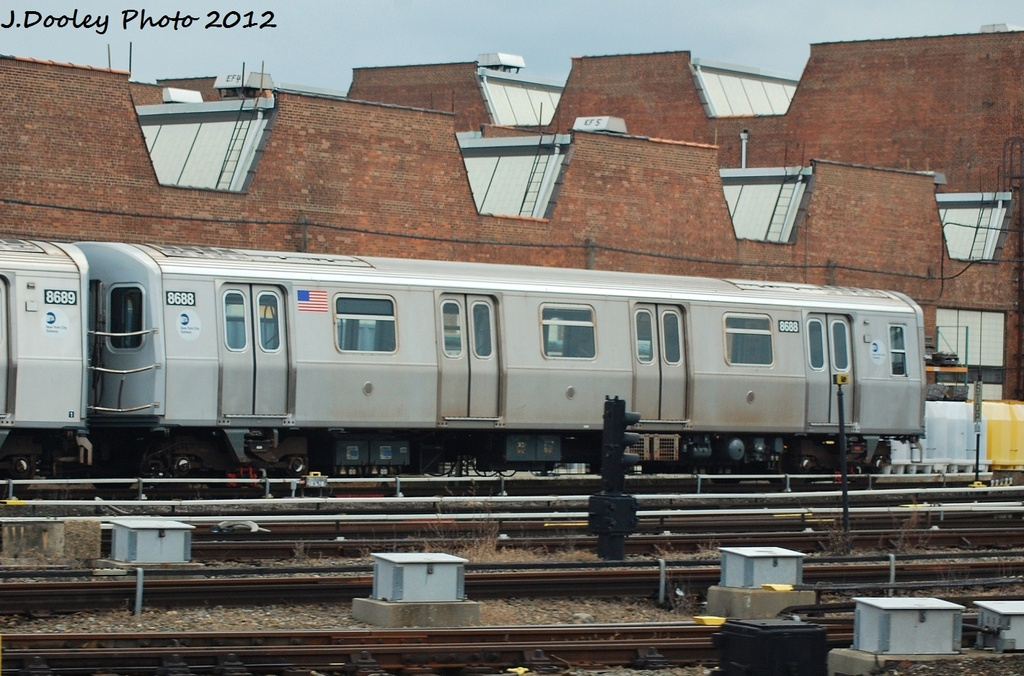 (330k, 1024x676)<br><b>Country:</b> United States<br><b>City:</b> New York<br><b>System:</b> New York City Transit<br><b>Location:</b> Coney Island Yard<br><b>Car:</b> R-160A-2 (Alstom, 2005-2008, 5 car sets)  8688 <br><b>Photo by:</b> John Dooley<br><b>Date:</b> 1/14/2012<br><b>Viewed (this week/total):</b> 0 / 194