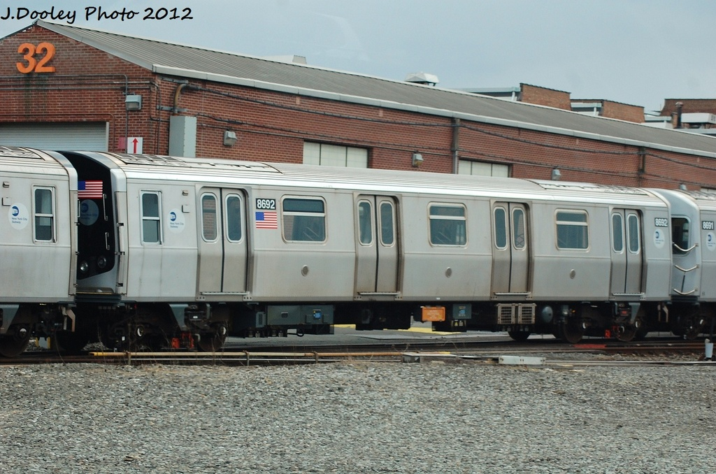 (342k, 1024x678)<br><b>Country:</b> United States<br><b>City:</b> New York<br><b>System:</b> New York City Transit<br><b>Location:</b> Coney Island Yard<br><b>Car:</b> R-160A-2 (Alstom, 2005-2008, 5 car sets)  8692 <br><b>Photo by:</b> John Dooley<br><b>Date:</b> 1/14/2012<br><b>Viewed (this week/total):</b> 0 / 159