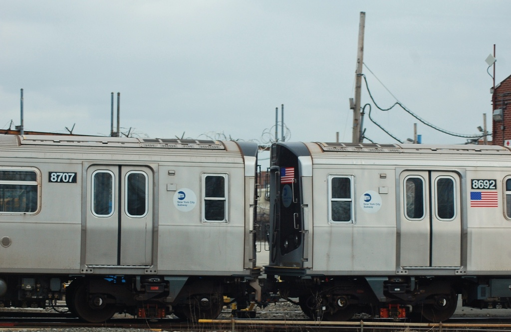 (222k, 1024x666)<br><b>Country:</b> United States<br><b>City:</b> New York<br><b>System:</b> New York City Transit<br><b>Location:</b> Coney Island Yard<br><b>Car:</b> R-160A-2 (Alstom, 2005-2008, 5 car sets)  8707/8692 <br><b>Photo by:</b> John Dooley<br><b>Date:</b> 1/14/2012<br><b>Viewed (this week/total):</b> 0 / 587