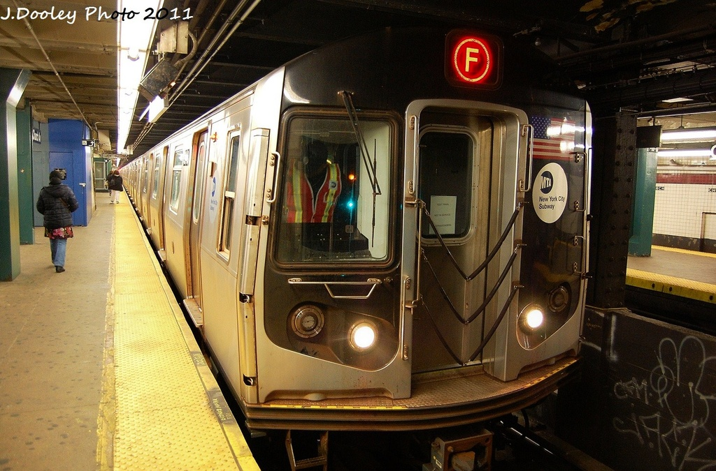 (359k, 1024x675)<br><b>Country:</b> United States<br><b>City:</b> New York<br><b>System:</b> New York City Transit<br><b>Line:</b> IND Crosstown Line<br><b>Location:</b> Church Avenue <br><b>Route:</b> F test<br><b>Car:</b> R-160A (Option 1) (Alstom, 2008-2009, 5 car sets)  9468 <br><b>Photo by:</b> John Dooley<br><b>Date:</b> 12/5/2011<br><b>Viewed (this week/total):</b> 1 / 705
