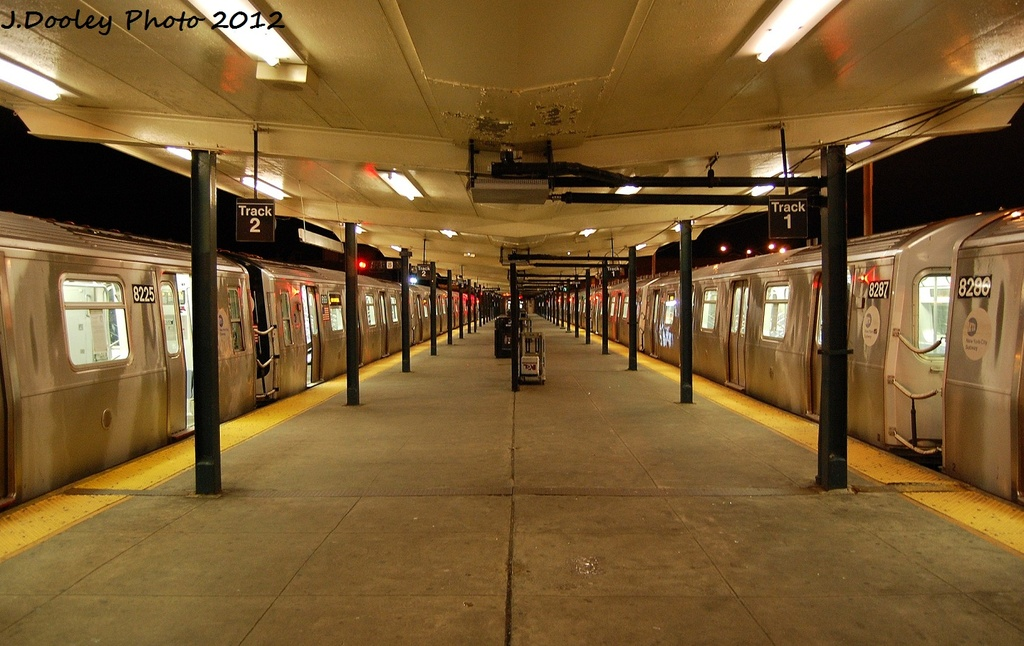 (313k, 1024x646)<br><b>Country:</b> United States<br><b>City:</b> New York<br><b>System:</b> New York City Transit<br><b>Line:</b> BMT Canarsie Line<br><b>Location:</b> Rockaway Parkway <br><b>Route:</b> L<br><b>Car:</b> R-143 (Kawasaki, 2001-2002) 8225/8287 <br><b>Photo by:</b> John Dooley<br><b>Date:</b> 1/15/2012<br><b>Viewed (this week/total):</b> 0 / 293