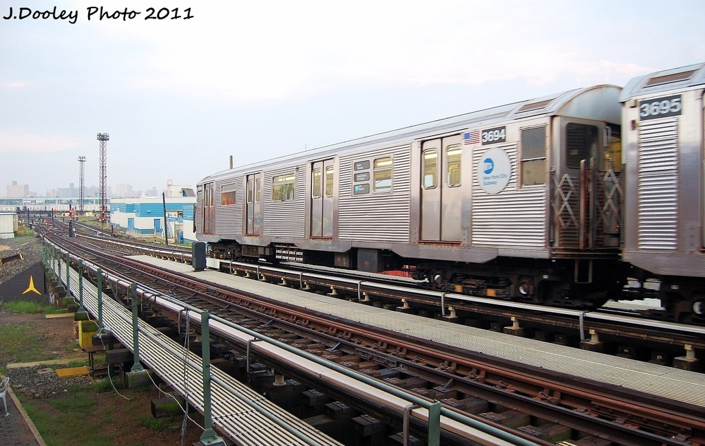(332k, 1024x649)<br><b>Country:</b> United States<br><b>City:</b> New York<br><b>System:</b> New York City Transit<br><b>Line:</b> BMT Culver Line<br><b>Location:</b> Avenue X <br><b>Route:</b> Work Service<br><b>Car:</b> R-32 (Budd, 1964)  3694 <br><b>Photo by:</b> John Dooley<br><b>Date:</b> 8/26/2011<br><b>Viewed (this week/total):</b> 0 / 138