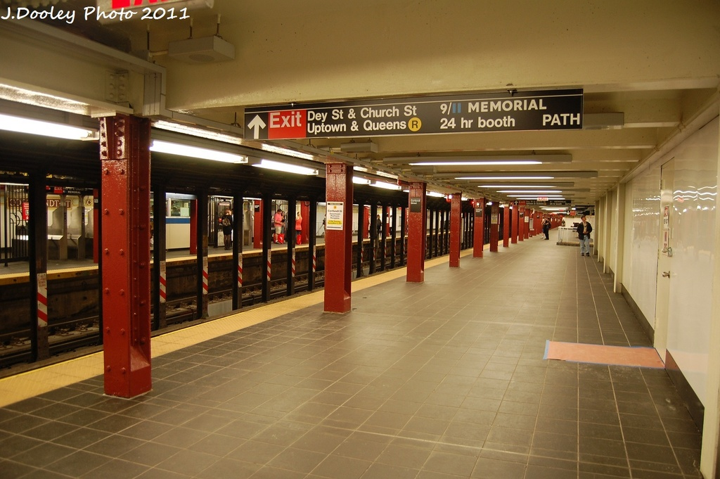 (274k, 1024x681)<br><b>Country:</b> United States<br><b>City:</b> New York<br><b>System:</b> New York City Transit<br><b>Line:</b> BMT Broadway Line<br><b>Location:</b> Cortlandt Street-World Trade Center <br><b>Photo by:</b> John Dooley<br><b>Date:</b> 9/6/2011<br><b>Viewed (this week/total):</b> 3 / 300