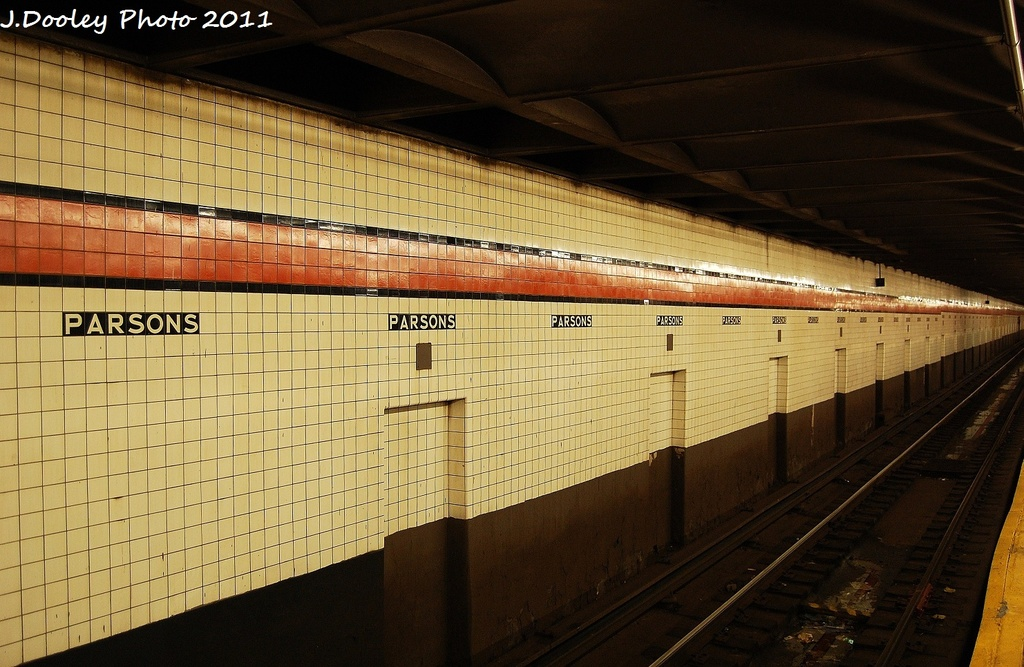 (327k, 1024x667)<br><b>Country:</b> United States<br><b>City:</b> New York<br><b>System:</b> New York City Transit<br><b>Line:</b> IND Queens Boulevard Line<br><b>Location:</b> Parsons Boulevard <br><b>Photo by:</b> John Dooley<br><b>Date:</b> 9/6/2011<br><b>Viewed (this week/total):</b> 1 / 246